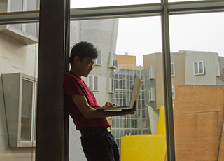 Student with laptop